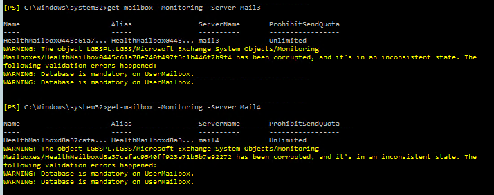 [ERROR] Database is mandatory on UserMailbox. Property ...