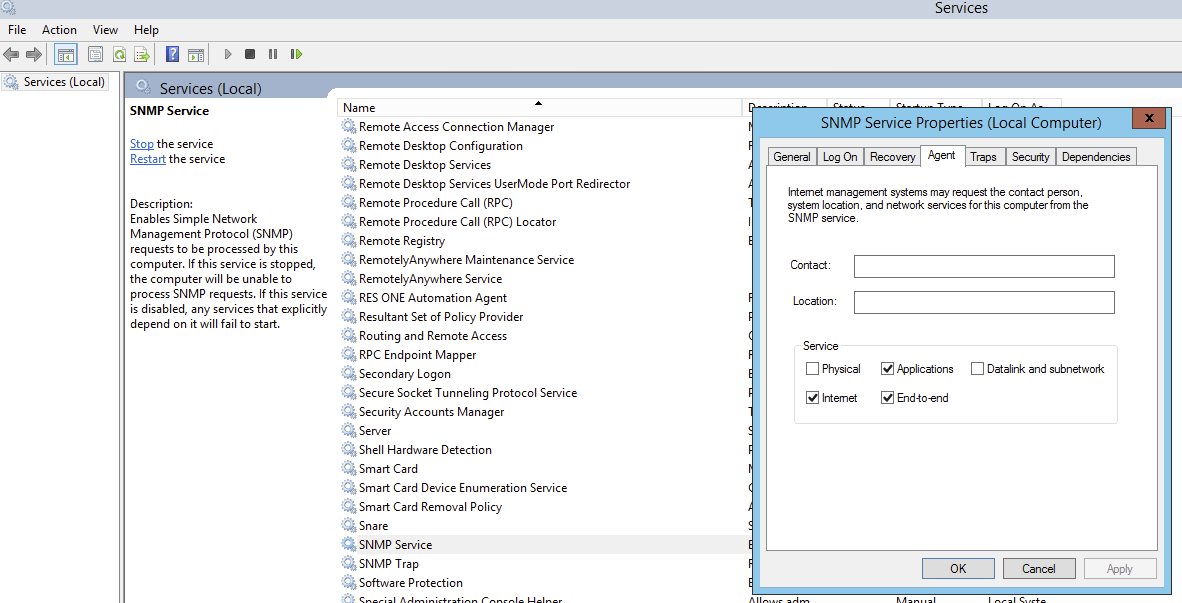 SNMP Service Tabs