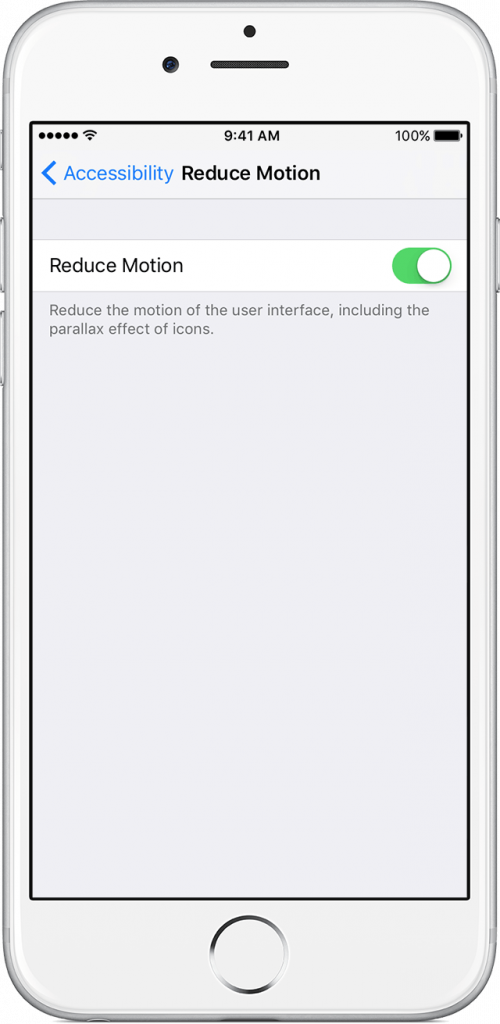 texts instead of effects disabled by reduce motion