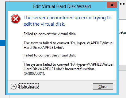 Hyper-V - Incorrect function when trying to move files - Evotec