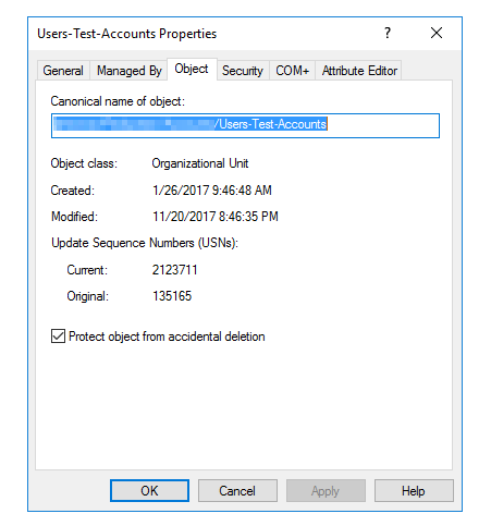 Remove Protect Object setting from Organizational Unit via
