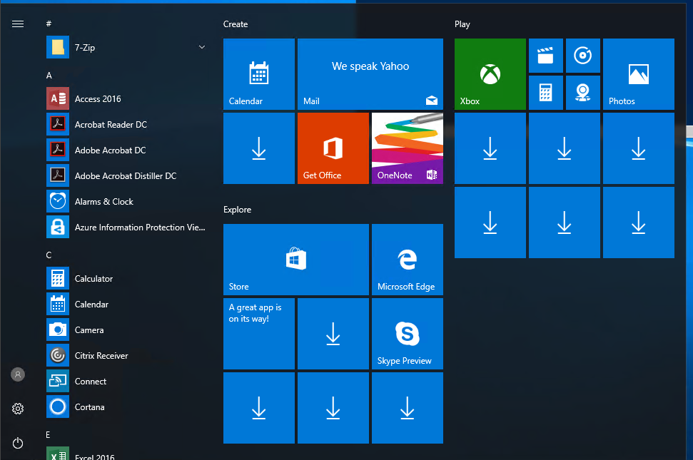 Prepare Windows 10 Start Menu for all computers in Active Directory