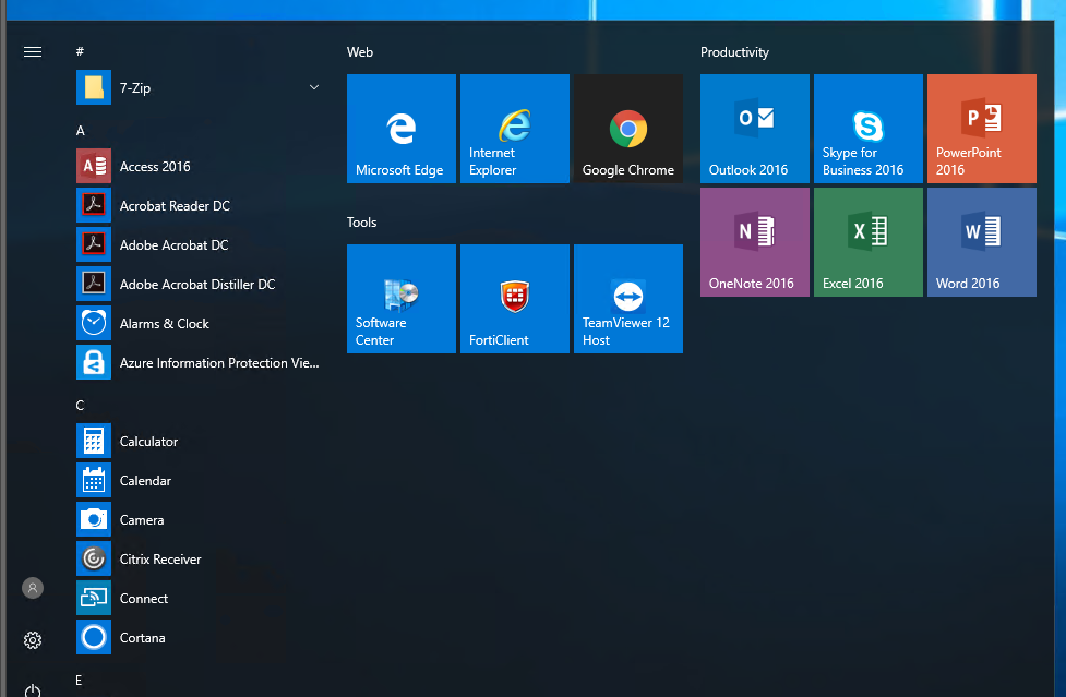 Prepare Windows 10 Start Menu for all computers in Active