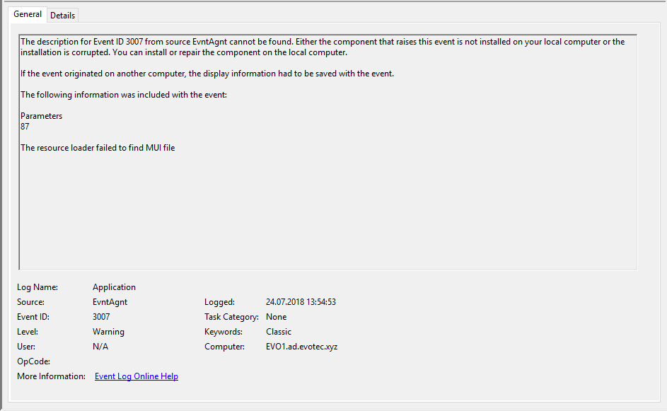 Windows 10 - High CPU Usage with EvntAgnt Warning Event ID