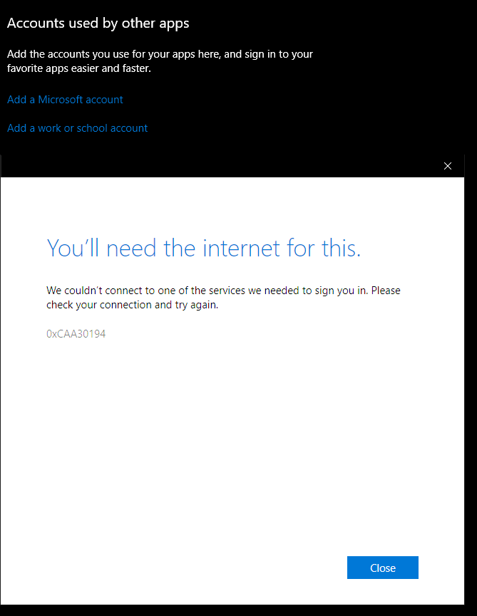Windows 10 - You'll need the internet for this 0xCAA7004 or