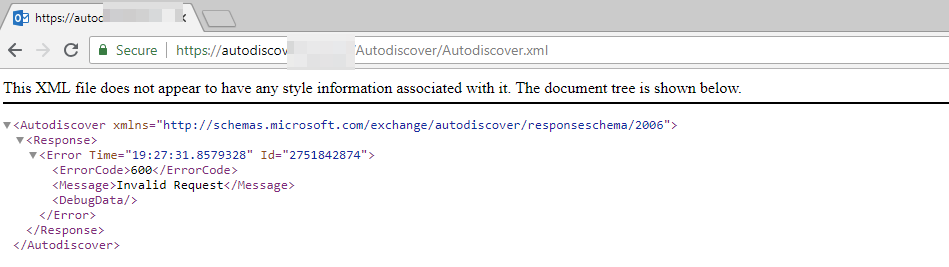 No account settings were returned from the Autodiscover