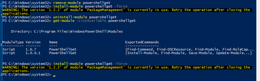 Update-Module - PackageManagementInstall-Package : Unable to