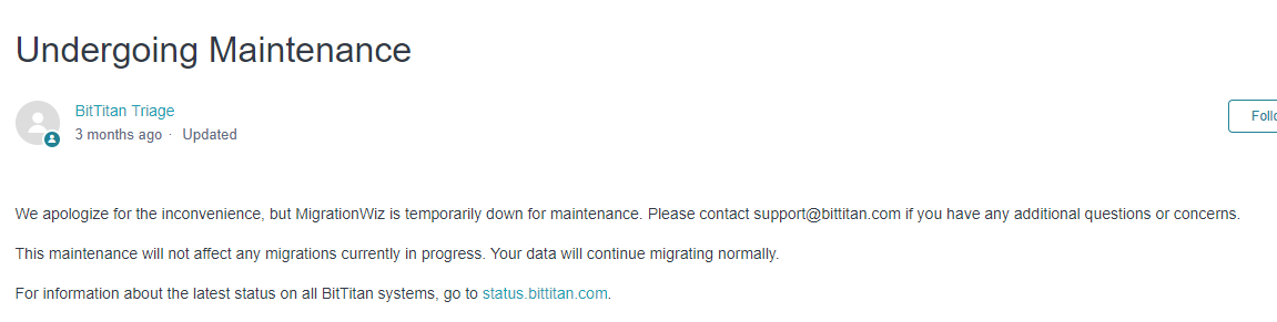 Bittitan Maintenance