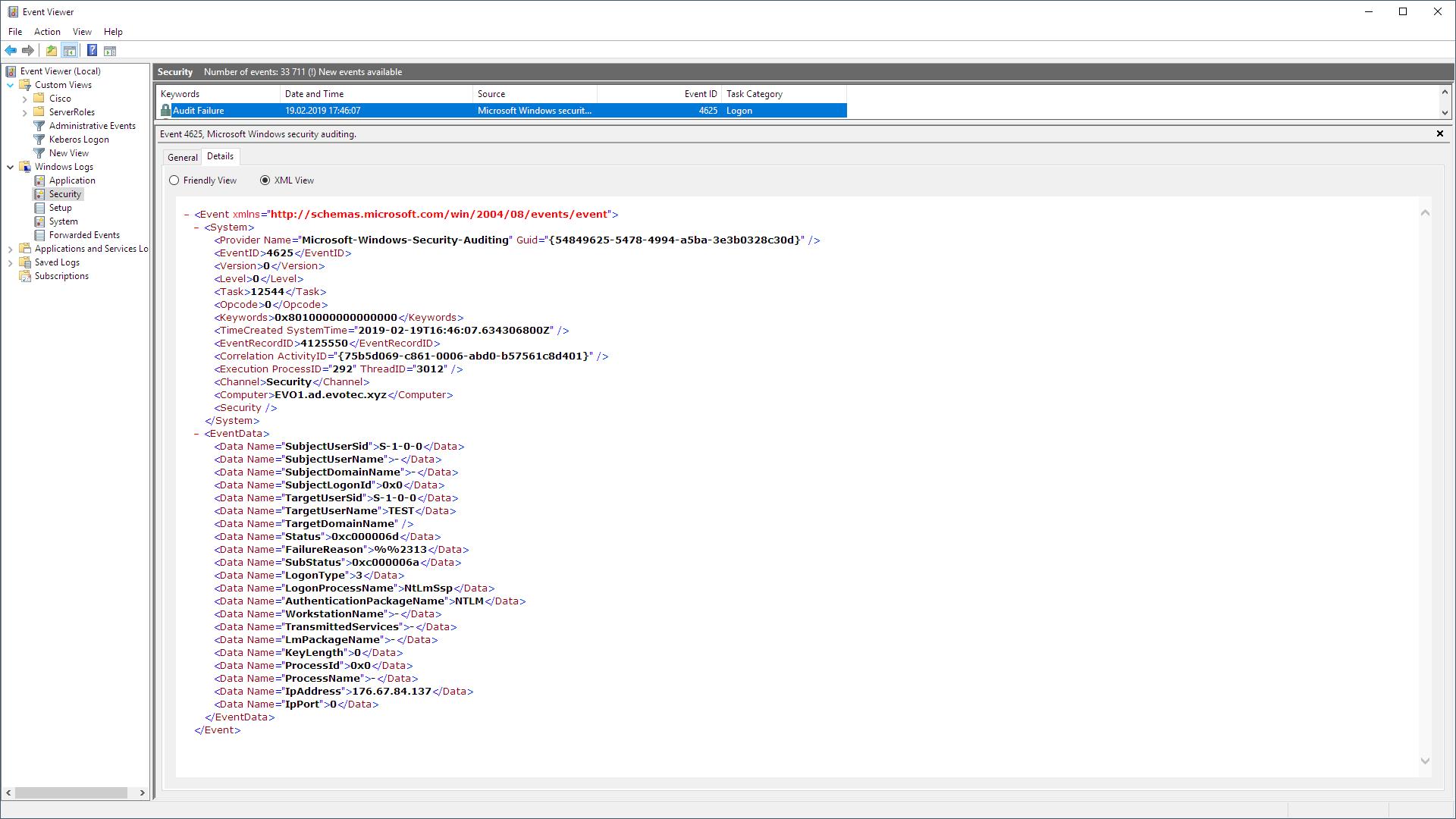 Event Viewer XML