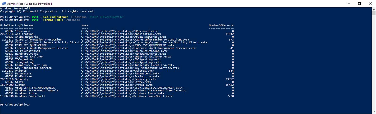 Get-CimInstance -ClassName 'Win32_NTEventlogfile'