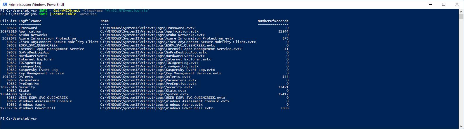 Get-WMIObject -ClassName 'Win32_NTEventlogfile'