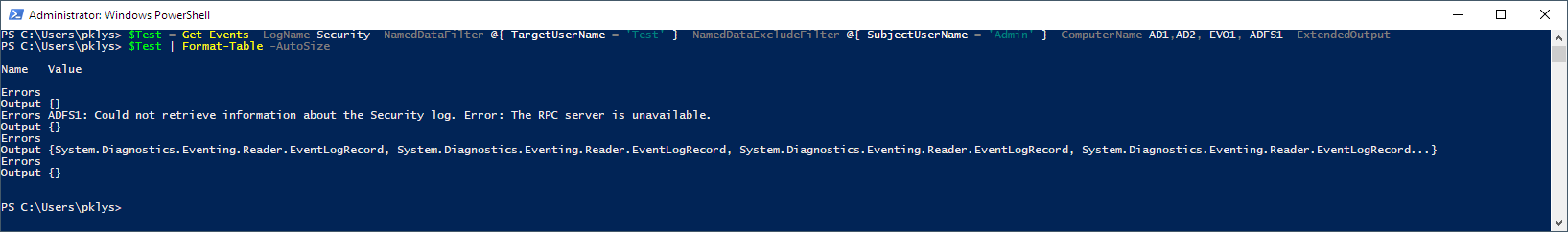 Get-Events Errors