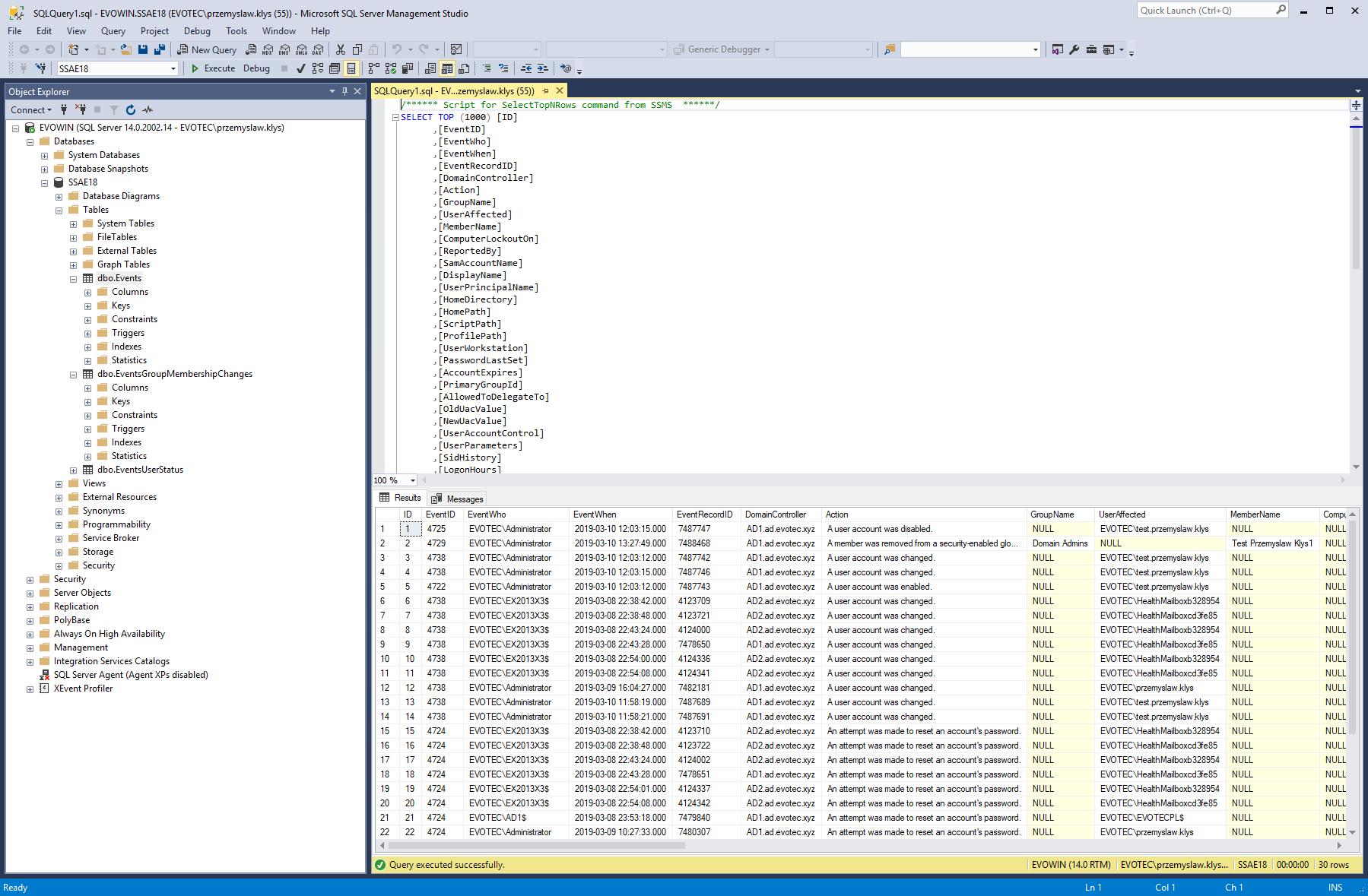 PSWinReporting SQL