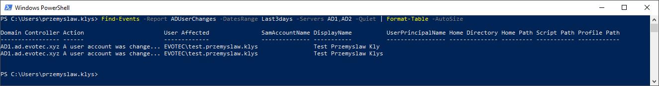 Active Directory User Changes