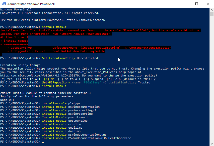 install-module : The 'install-module' command was found in the module 'PowerShellGet', but the module could not be loaded.