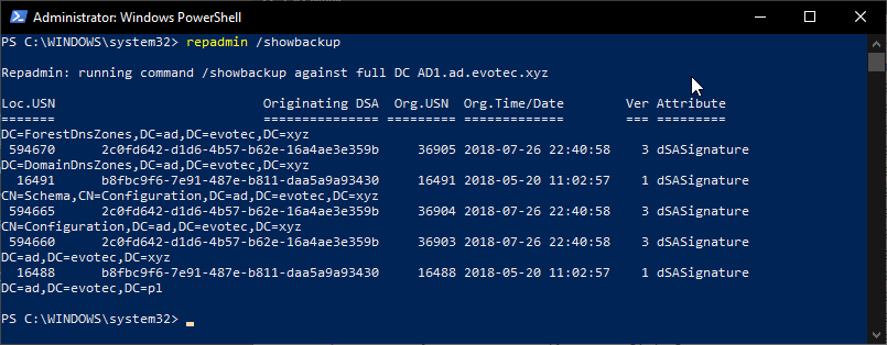 Getting Active Directory Last Backup Time using PowerShell